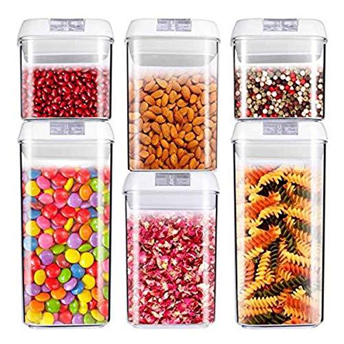 Récipient à nourriture, hermétique à céréales et nourriture sèche de stockage - Lot de 6 - Plastique durable de qualité alimentaire sans BPA - Garde la nourriture au sec et frais avec Easy Lock