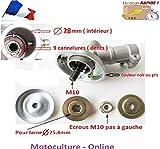 Motoculture-Online Renvoi d'angle Complet pour Tube 28 mm et axe Rond de 9 cannelures pour débroussailleuse ou Machine Multi-Fonctions 5 en 1 (tête Support Lame ou rotofil)