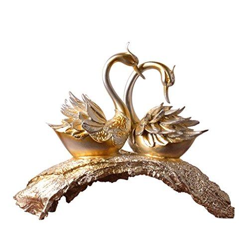 JXXDDQ Swan Dekoration Wohnzimmer Dekoration Harz Handwerk Dekoration (Farbe : Champagner, größe : 53 * 43cm)