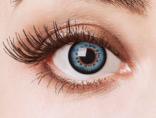 aricona Farblinsen - farbige Kontaktlinsen ohne Stärke – blaue Circle Lenses, farbig bunte Augenlinsen, 12 Monatslinsen für Cosplay, Anime & Manga Big Eyes