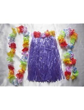 Disfraz de DANZATRICE hawaiana con flores y falda de paja azul.