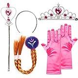 """Katara - Set de princesa, juego de disfraz para niñas de color rosa, inspirado por Anna de la pelicula """"La reina del hielo"""" - iara, guantes varita mágica y trenza  2-9 años"""