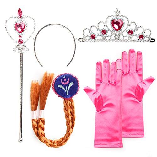 Katara - Set de déguisement de filles pour costume d'Anna de la Reine des Neiges - Diadème avec un diamant rose/ Gants/ Baguette magique/ Tresse brune - 2-9 ans