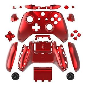 WPS Chromfarbenes Gehäuse für Xbox One S Slim (3,5 mm Kopfhöreranschluss) Controller (Chrom Rot) für 1807 Version