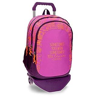 Mochila escolar con carro Movom Smile Violeta doble compartimento