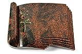 MEMORUM Grabmale Grabbuch, Grabplatte, Grabstein, Grabkissen, Urnengrabstein, Liegegrabstein Modell Prestige 40 x 30 x 8-9 cm Aruba-Granit, Poliert inkl. Gravur (Bronze-Color-Ornament Rose 6)