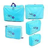 5 Pezzi Vestiti Calzini Cubo Sacchetto Dell'imballaggio Deposito Bagagli Viaggio Organizzatore Blu