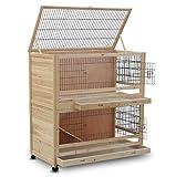Zooprimus Cage Clapier Enclos Lapin Extérieur en Bois Haute Qualité pour Lapins 115 x 60 x 118 cm Modèle 046 Câlin