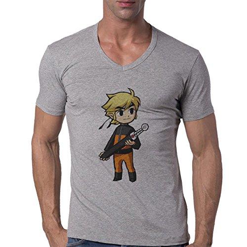 Naruto Logo Holding a Sword Anime Herren V-Neck T-Shirt Grau