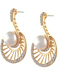 Zephyrr Fashion Pierced Stud Earrings With Pearls Zircons For Girls And Women