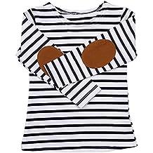 949298258 QUICKLYLY Camisetas de Manga Larga Niños Raya Pull-over Sudaderas paraBebé  Blusas