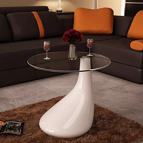 Lingjiushopping Table de CAF ¨ ¦ Blanche en Forme de Goutte d'eau Tableau : Verre de sécurité en 8 mm d'épaisseur di ¨ Metro : 45 cm