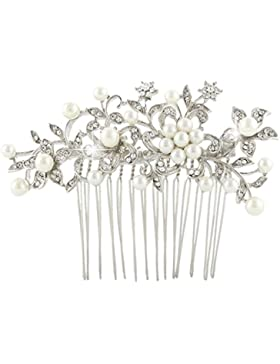 EVER FAITH® österreichischen Kristall Elfenbein-Farbe künstliche Perle elegant Braut Blume Blätter Haarkamm Haarschmuck...