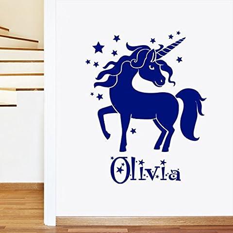 Sticker mural pour enfant Licorne filles Nom personnalisé–Art de transfert