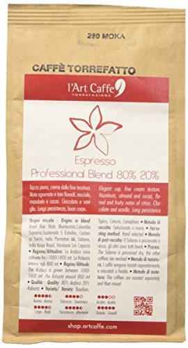 L'Art Caffè Caffè Espresso Professional Blend 80% 20%, Miscela Arabica e Robusta, Macinato Moka, Coltivazione in Altitudine, Varietà Bourbon/Typica/Caturra/Canephora, Selezionato a Mano