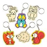 Schlüsselanhänger- und Taschenschmuck-Bastelsets Waldtiere für Kinder zum Basteln und Verschenken (6 Stück)