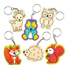 Woodland Animals Wooden Keyrings (Pack of 6)