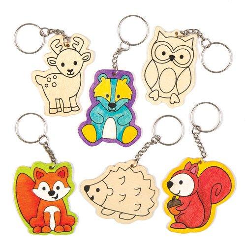 und Taschenschmuck-Bastelsets Waldtiere für Kinder zum Basteln und Verschenken (6 Stück) ()