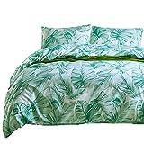 Boqingzhu Bettwäsche 135x200 2 Teilig Blätter Grün Bananenblatt Microfaser 1 Bettbezug 135x200 cm mit Reißverschluss und 1 Kissenbezug 80x80 cm