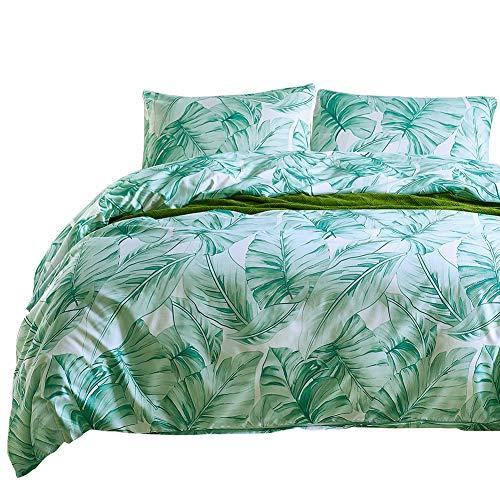 Boqingzhu Bettwäsche 200 x 200 3 Teilig Blätter Pflanzen Grün Microfaser 1 Bettbezug 200x200 cm mit Reißverschluss und 2 Kissenbezüge 80x80 cm