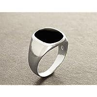 schwarzer Onyx Siegelring - Silber 925 - moderner Herren Ring - Onyx Edelstein - Kissen Signet Ring - Herren Schmuck - Männer Ring - schwarz Stein Ring