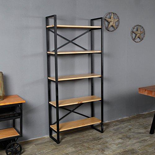 JX&BOOS American retro-bücherregal,Eisen bücherregal solide holz rack landung mehrschichtigen wohnzimmer industriellen stil creative assembly-G 100x30x180cm(39x12x71) (American Bücherregal)
