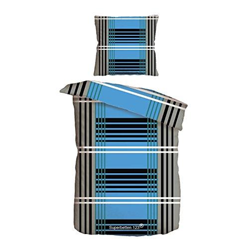 Superbetten-321 Top Bettwäsche Garnitur in Vielen Qualitäten und Größen mit RV in über 30 Verschiedenen Mustern (Grey Line, 200x220cm Baumwolle 3tlg)