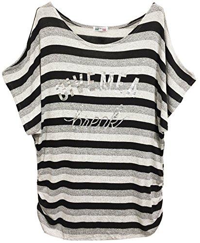 Emma & Giovanni - T-shirt à Rayure Manche Courte - Femme Noir