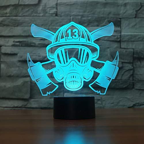 MMLUCK Nachtlicht 3D Feuerwehrmann Maske Modelliertisch LED 7 Farben Ändern Nachtlicht Neuheit Schlaf Beleuchtung Wohnkultur USB GeschenkeWohnzimmer Dekoration