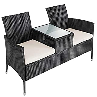 Deuba® Gartenbank Poly Rattan   Tisch inkl. 7cm Auflagen wetterfest   Gartensofa Kinobank Bank Garten Möbel 2 Sitzer