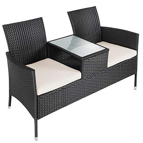 Deuba Gartenbank Poly Rattan | Tisch inkl. 7cm Auflagen wetterfest | Gartensofa Kinobank Bank Garten Möbel 2 Sitzer