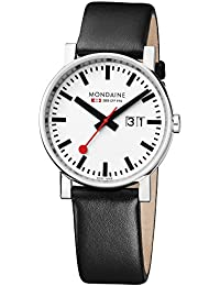 Mondaine Men's Quartz Watch with White Dial Analogue Display and Black Leather Strap A627.30303.11SBB