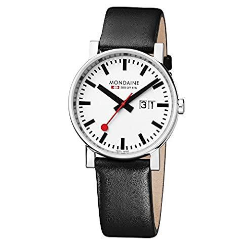 Mondaine Men's Quartz Watch with White Dial Analogue Display and