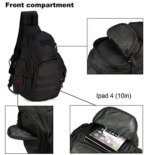 DCCN Rucksack mit einem Gurt Militär Crossbag Sling Rucksack für Radfahren Wandern Camping Schwarz Typ2-Schwarz