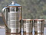 Kupfer becher und krug set trinkzubehör für ayurvedische heilung außerhalb stahl innen kupfer, kapazität 1,6 liter