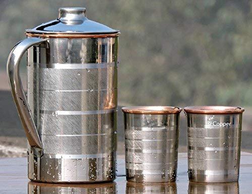 Cadeau de Noël Gobelets en cuivre et pichet pour boire accessoire de boisson pour la guérison ayurvédique en dehors de l'acier à l'intérieur du cuivre, capacité 1,6 litres
