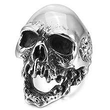 Mendino Anello in acciaio INOX con teschio, da uomo, stile gotico, vintage, colore argento antico e nero, con sacchetto di velluto, acciaio inossidabile, 59 (18.8), cod. JRG0113SI-5