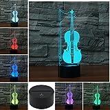 3D Geige Optische Illusions-Lampen, Tolle 7 Farbwechsel Acryl berühren Tabelle Schreibtisch-Nachtlicht mit USB-Kabel für Kinder Schlafzimmer Geburtstagsgeschenke Geschenk