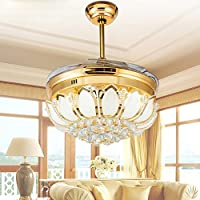 BBSLT Stealth ventilatore soffitto a luce ventilatore lampada luce ventilatore LED a sospensione lampada camera da letto soggiorno moderno minimalista ristorante cristallo ventilatore a soffitto