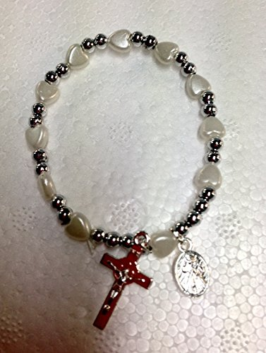 Bracciale Rosario con Cuori Bianchi e Croce BOMBONIERA COMUNIONE CRESIMA - Cuore Rosario Croce