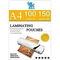 H&S 100 x A4 Laminating Pouches 150 Micron (2 x 75 Micron ) Gloss Laminator Pouches Sheets Glossy Laminate Pouch