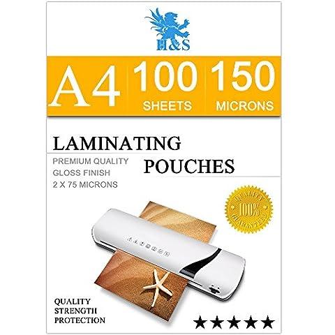 H&S 100 x A4 Laminating Pouches 150 Micron (2 x 75 Micron ) Gloss Laminator Pouches Sheets Glossy Laminate