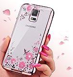 ZCRO Handyhülle für Samsung Galaxy S5, Silikonhülle Hülle Silikon Transparent Klar Durchsichtig Schutzhülle Case Glitzer Bling Glitter Diamant Dünn Bumper Cover für Samsung Galaxy S5(Rose Gold,Rosa)
