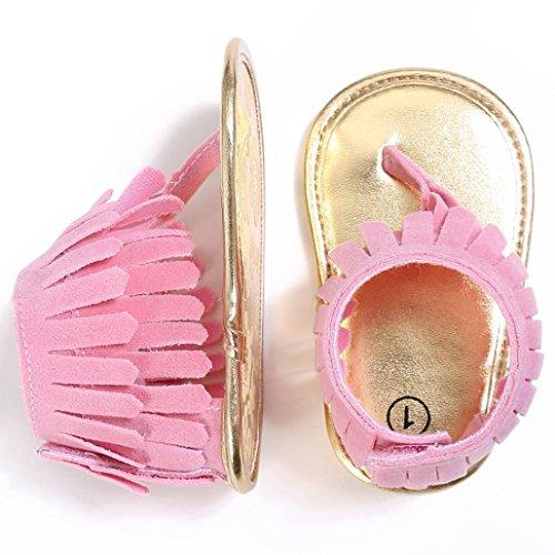 Saingace Kleinkind Mädchen Krippe Schuhe Neugeborene Blume Soft Sohle Anti-Rutsch Baby Sneakers Sandalen Rosa