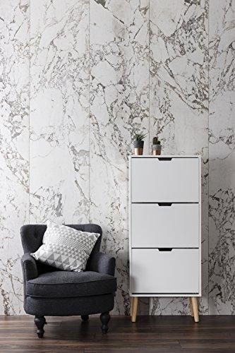 Huf 3 Drawer Shoe Storage Cabinet in White & Pine Noa & Nani