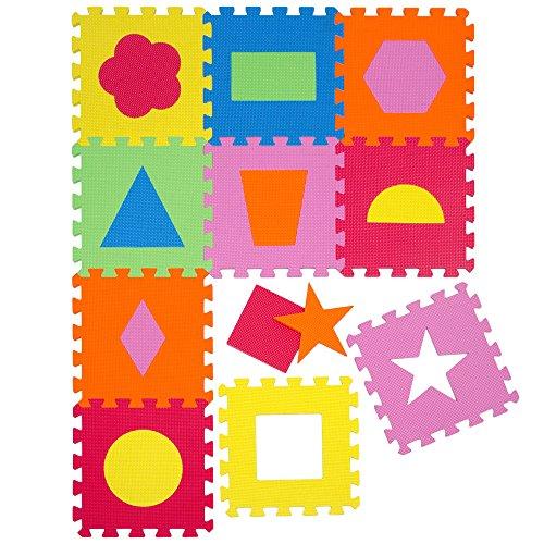 Tappeto Puzzle per Bambini | in Soffice Schiuma EVA | Tappetino Gioco per la Cameretta | con Figure Geometriche da Comporre