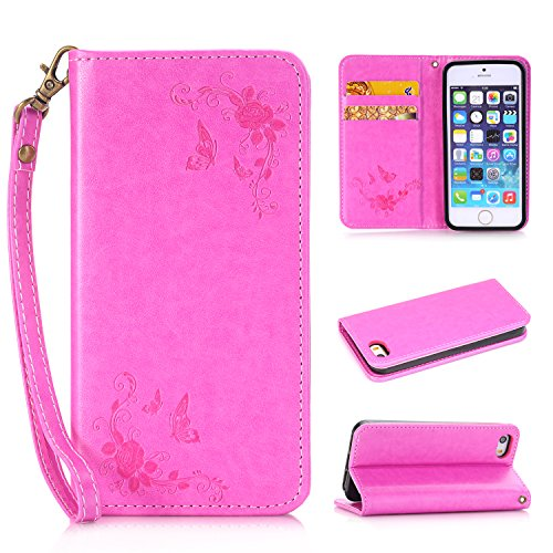 Cozy Hut iPhone 5C Hülle | Handyhülle | Schutzhülle | Handytasche | Tasche | Cover | Case mit Premium Vintage / Retro Genuine Scrub Leather Flip Folio Leather Wallet Stand Case with card slots and side pocket Shell Für iPhone 5C Schmetterlings-Rose Muster Hülle - Rose Red (Tinkerbell Vase)