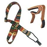 Retro Ethnic Style Print adjustable Ukulele Strap (Ukulele Hals Strap) with a Wood Grain Style Ukulele Capo