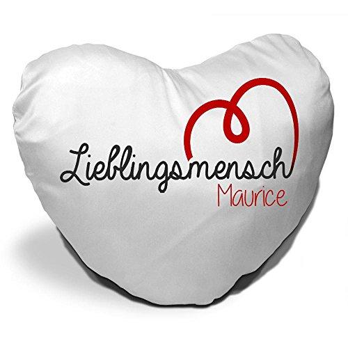 Herzkissen mit Namen Maurice und schönem Lieblingsmensch-Motiv zum Valentinstag - Herzkissen personalisiert Kuschelkissen Schmusekissen