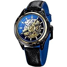 Treweto - Reloj de pulsera para hombre, automático, mecánico, con revestimiento de cristal, color negro y rojo